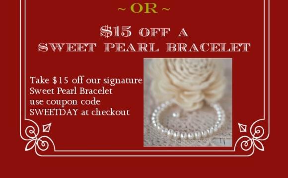 $15 off a sweet pearl bracelet.