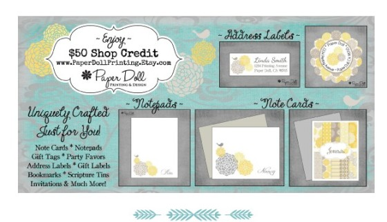 win $50 worth of store credit at Paper Doll Printing on Etsy.